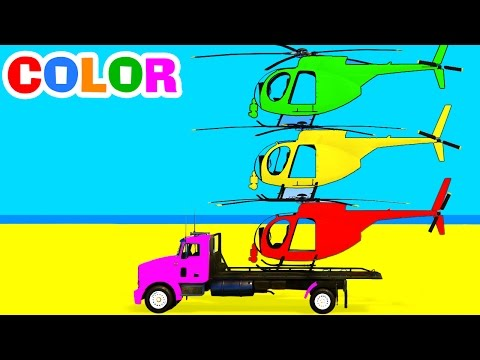 Thumbnail: Color Helicopter on Truck & Spiderman Cars Cartoon for Children w Colors for Kids Superhero Video
