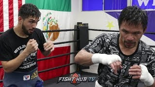 MANNY PACQUIAO GIVES TRAINING PARTNER AB LOPEZ A BOXING LESSON! TAKE NOTES