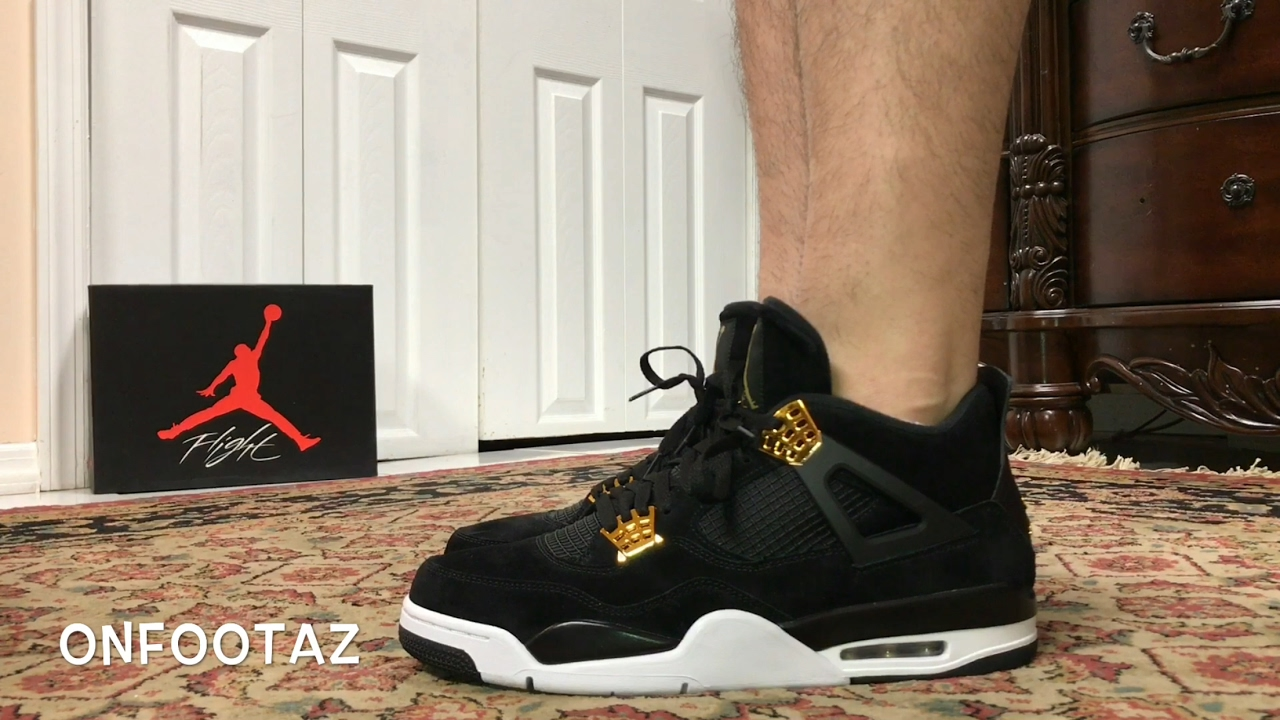 501f9134fb0f2a Air Jordan 4 IV Royalty On Foot - YouTube