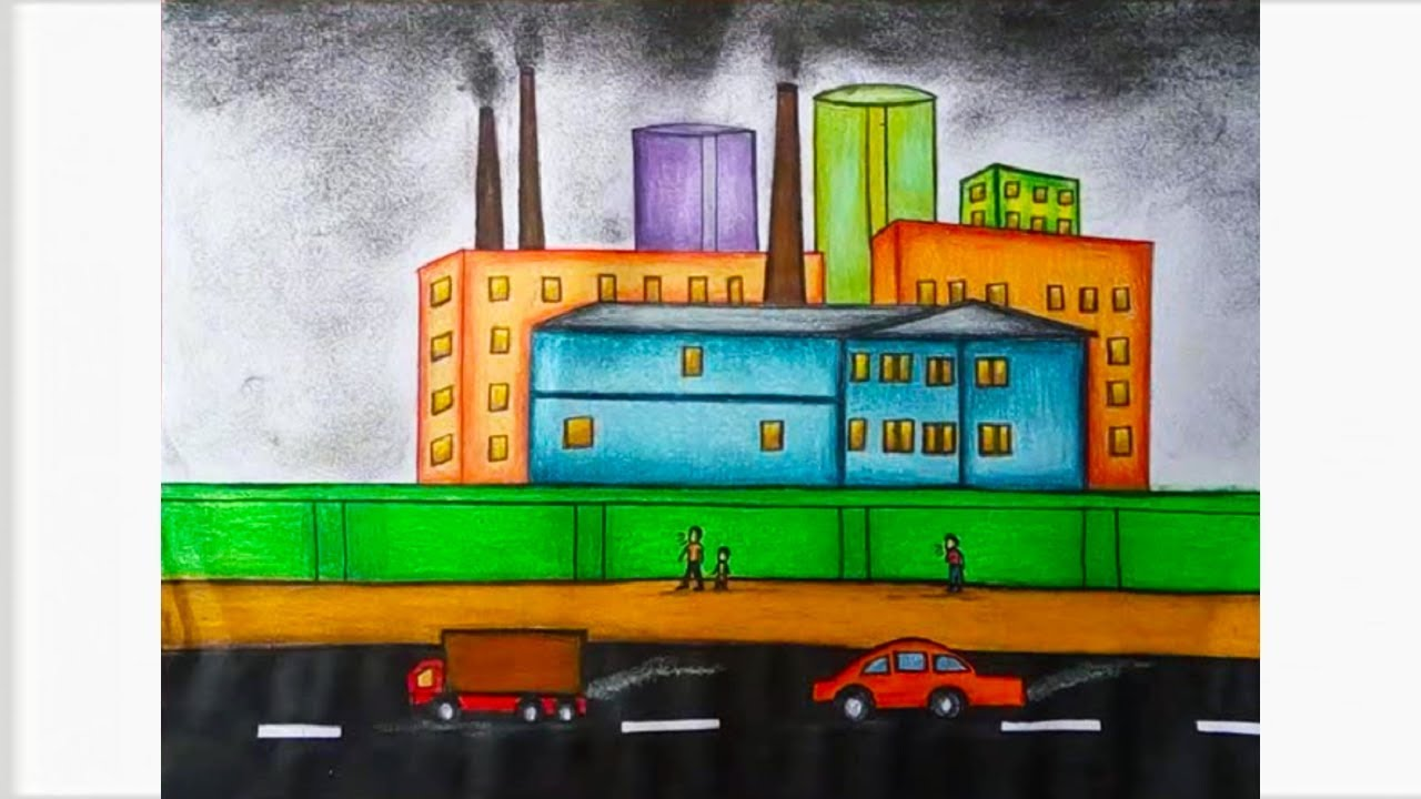 How to draw air pollution step by step kids friendly drawing
