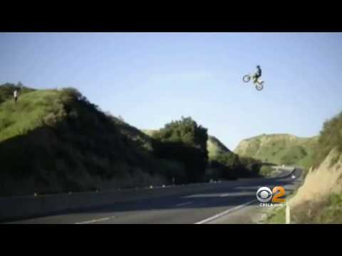 Crazy DirtBike Jump over the 60 Freeway