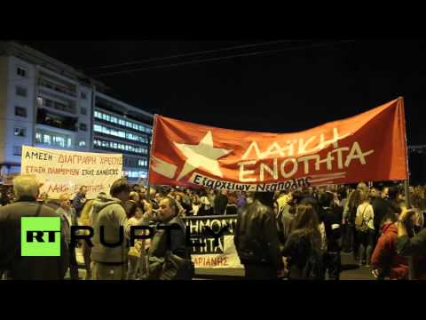 Greece: Anti-austerity protesters rally outside Hellenic Parliament