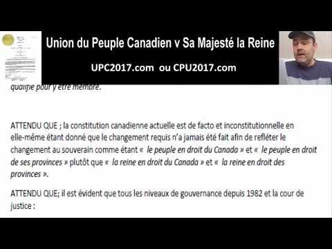USURPATION des DROITS du PEUPLE - Union du Peuple Canadien v Sa Majesté la Reine, Dec 03, 2018