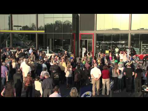 Irvine California Mini car dealership opening flash mob