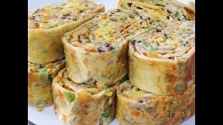 TRỨNG CUỘN -  hướng dẫn cách làm món Trứng chiên cuộn sắc màu by Vanh Khuyen