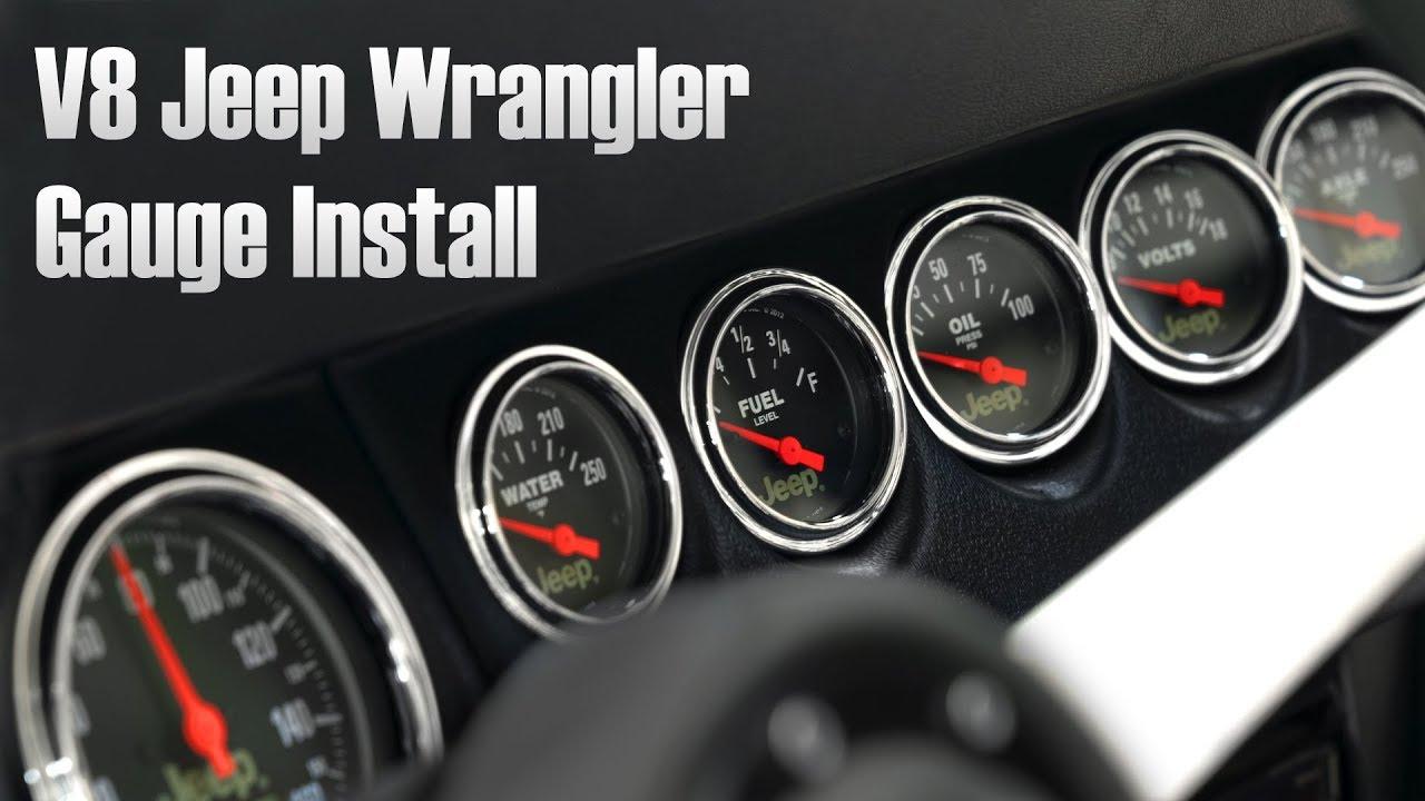 autometer garage episode 13 v8 swapped jeep wrangler gauge installation [ 1280 x 720 Pixel ]
