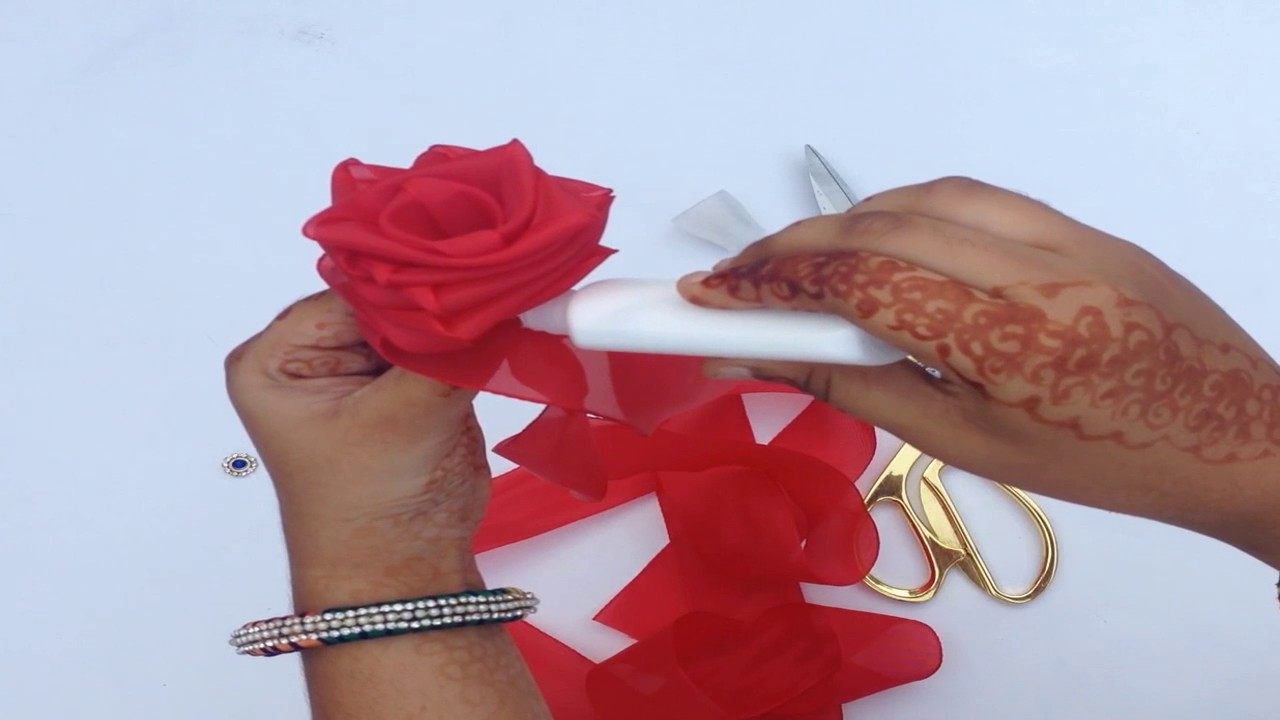 Rose Flower Making With Silk Ribbon Step By Step Youtube