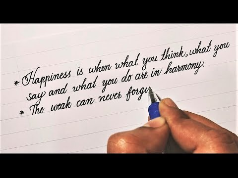 Mahatma Gandhi quotes in beautiful English cursive handwriting style using gel pen # 24