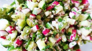 Летний салат с огурцами и редиской   #153