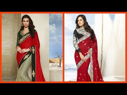 Designer Party Wear Red Sarees