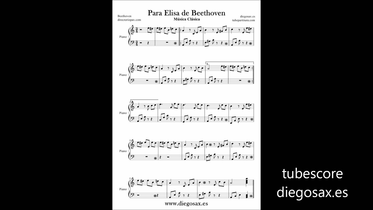 Fur Elise Sheet Music Piano for Beginners. Per Elise Piano Easy Music ...