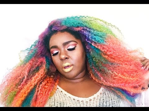 unicorn curls kinky curly rainbow-hair
