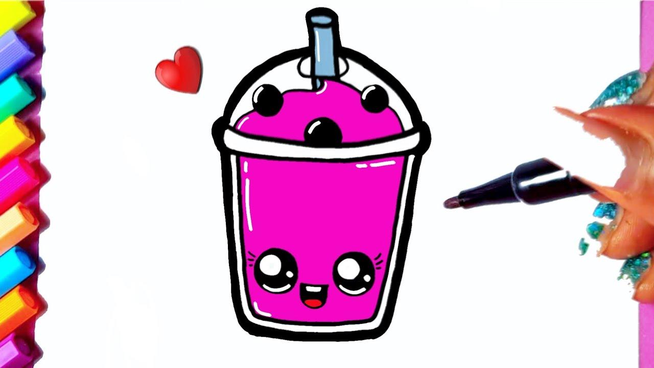Como desenhar Milk-Shake fofo Kawaii ❤ Desenhos Kawaii - Desenhos para Desenhar