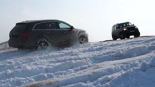 Audi Q7 и Уаз Патриот на бездорожье.