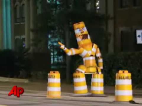 Traffic Cone Monster Has Artist In A Jam Education News Story WHNS Greenville2
