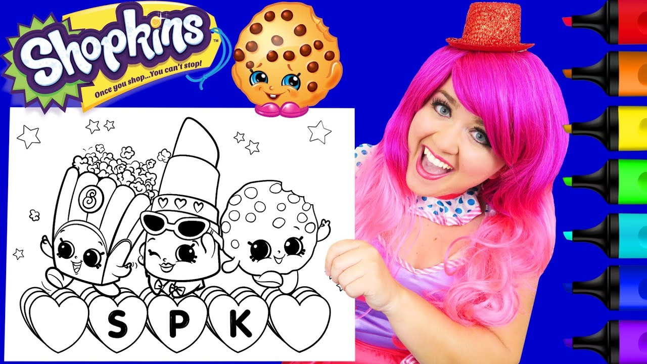 Coloring Shopkins Lippy Lips, Kooky Cookie GIANT Coloring Page ...