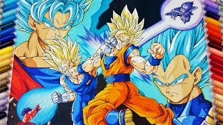 Drawing Goku vs Vegeta   EPIC FIGHT!   TolgArt