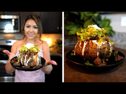 HOW TO MAKE THE BEST CARNE ASADA LOADED BAKED POTATO