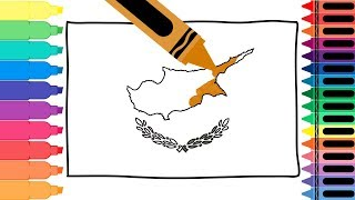 How to Draw Cyprus Flag - Coloring Pages for kids - Drawing the Cypriot Flag | Tanimated Toys