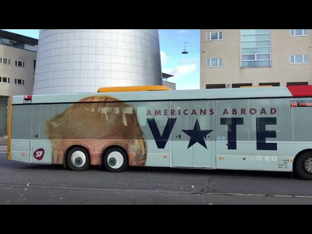 Donald Trump bus Commercial in Copenhagen Denmark.