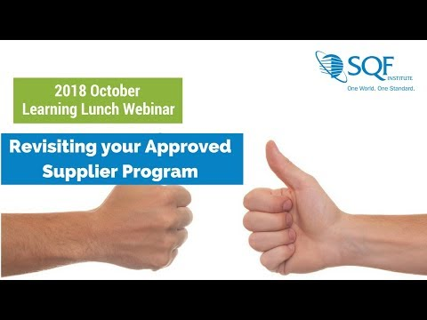 2017 October Learning Lunch: Revisiting Approved Supplier Program