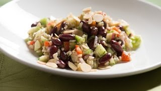 Brown Rice And Kidney Bean Salad With Roasted Red Peppers, Fuji Apples, And Sherry Vinaigrette