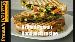 Paneer Sandwich recipe, how to make Grilled Paneercottage cheese Sandwich