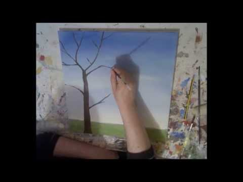 "painting tutorial.how to paint painting techniques ""Park in Summer"" painting on canvas"