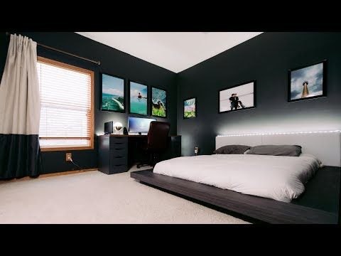 Modern Clean & Minimal Tech Bedroom Office Tour