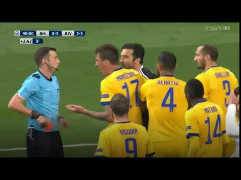 Gianluigi Buffon Red Card by Michael Oliver - Penalty to REAL MADRID
