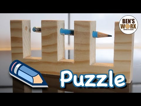 Pencil through wood trick - wooden puzzle