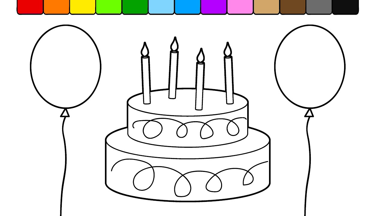 learn colors for kids with this birthday cake balloon coloring page