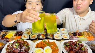 Sweet & Spicy Chicken, Kimbap, Bibimbap Mukbang | Jjang Kimbap | Leiteng Hoard | Meitei Mukbang