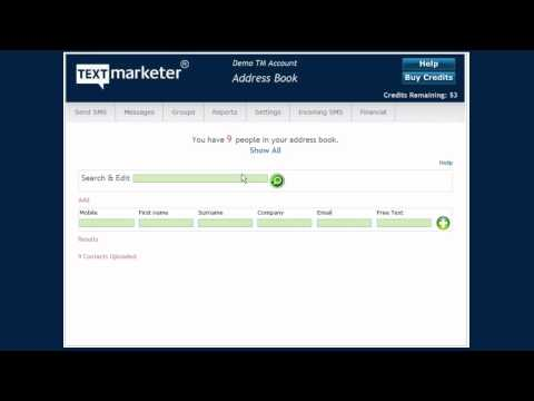 Text Marketer Bulk SMS Address Book Feature video