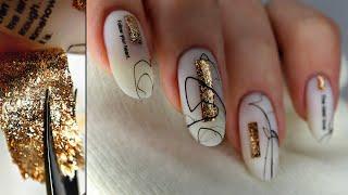 ВАУ Наклейки своими руками Наращивание ногтей базой Осенний дизайн ногтей Блестящий маникюр
