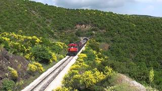 The gas pipe train with diesels roaring at the steep grade of Kournovo mountain..