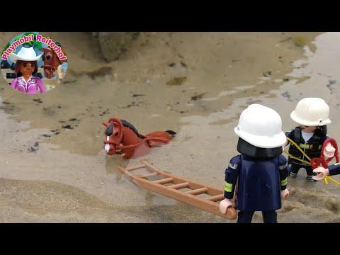 Pferd im Meer versunken - Playmobil Pferde Reiterhof Bauernhof Pferdehof Film Feuerwehr Einsatz 4K