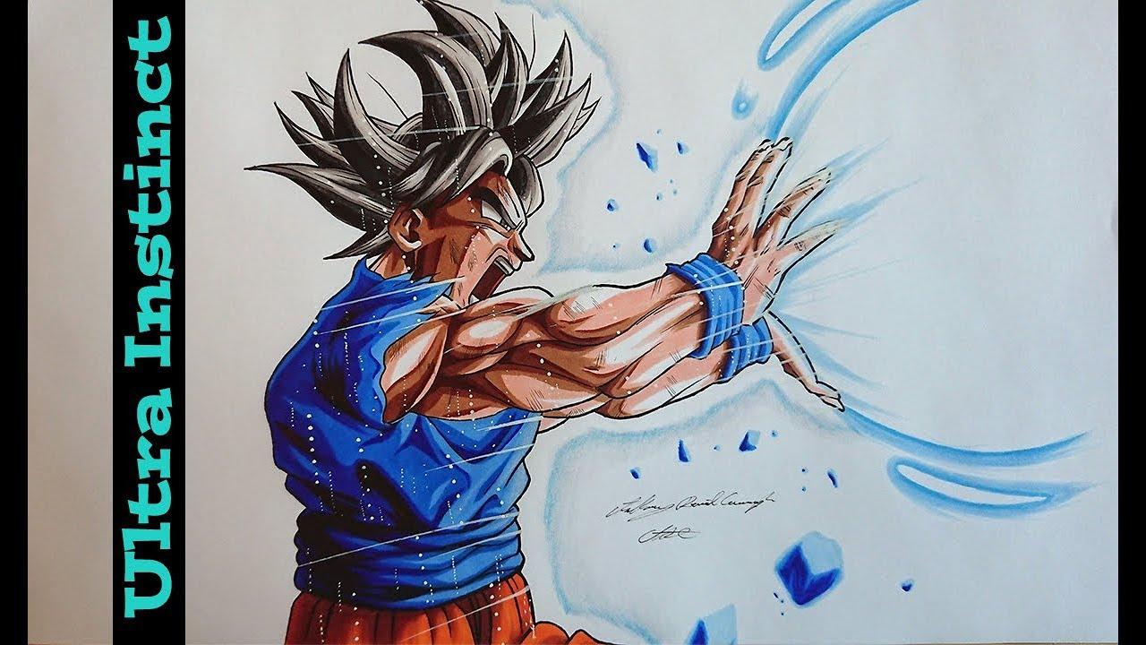 Goku ultra instinct kamehameha speed drawing youtube - Goku ultra instinct sketch ...