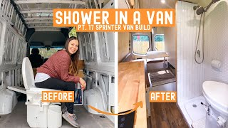 Full DIY Bathroom in a Self-Converted Sprinter Van! » Sprinter Van Build
