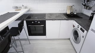 Кухня из пластика | фасады пластик | барная стойка | белая кухня | обзор кухни | дизайн кухни