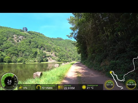 60 Minute Indoor Cycling Workout Saarschleife Germany with Cadence & Speed Display 4K