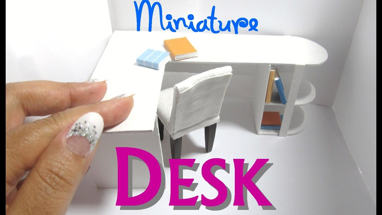 DIY Modern Desk Office Dollhouse Furniture Miniature L Shaped With Bookshelf