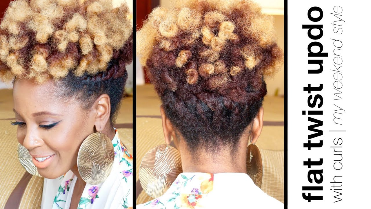 Easy Flat Twist Updo With Curls Natural Hair Askproy Youtube