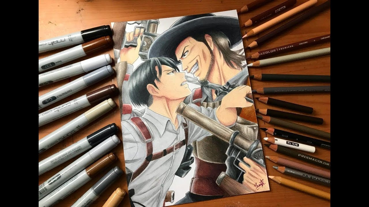 Speed Drawing Levi Vs Kenny Ackerman Attack On Titan Season 3 Hd Youtube