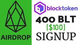 EOS Airdrop: 400 BLT ($100) Signup - Blocktoken