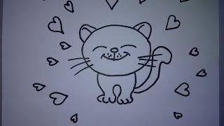 Как нарисовать влюбленную кошку с сердечками. Валентинки своими руками(Здравствуйте! Предлагаю вашему вниманию видеоролик, где я показываю, как очень просто нарисовать влюбленну..., 2016-01-23T07:11:54.000Z)