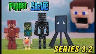 Minecraft Series 3.2 Action Figures Set Jazwares Unboxing Toys Overworld - Chicken Jockey, Squid