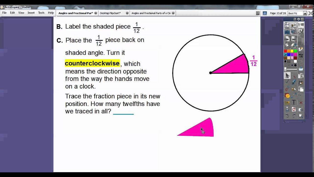 Angles and Fractional Parts of a Circle  Lesson 111