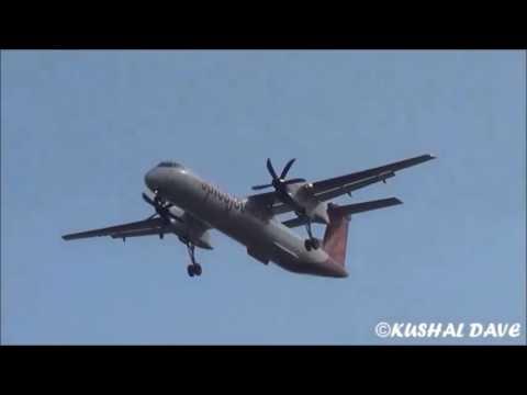 Spicejet Bombardier Dash 8 Q400(VT-SUD) Landing at Surat Airport,Gujarat India