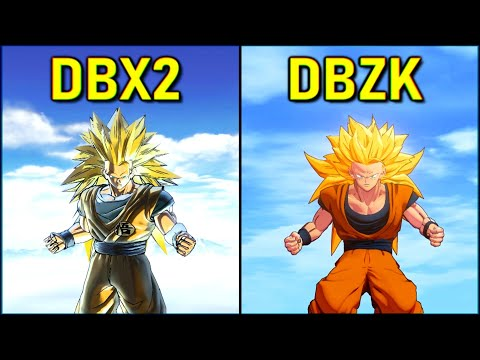Goku - All Transformations & Attacks | DBZ Kakarot Vs DBXV2 [SSJ-SSJ2-SSJ3-KX20]
